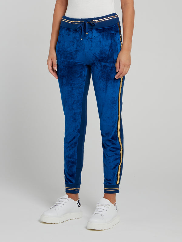 Blue Velvet Gold Stripe Track Pants