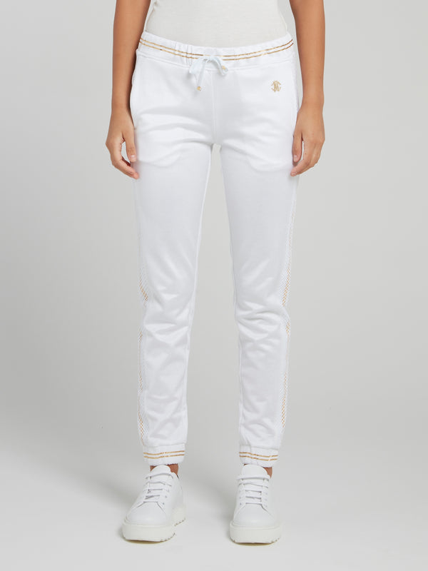 White with Gold Stripe Edge Drawstring Track Pants