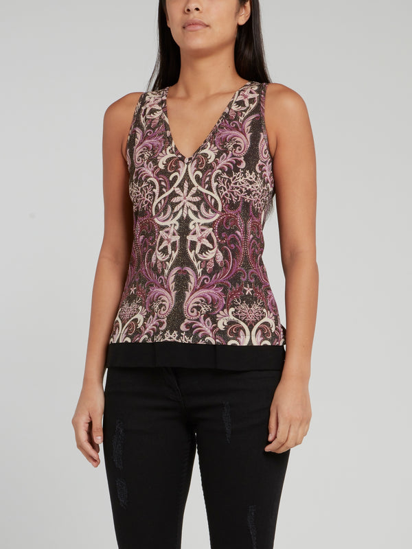 Baroque Print Knitted Sleeveless Top