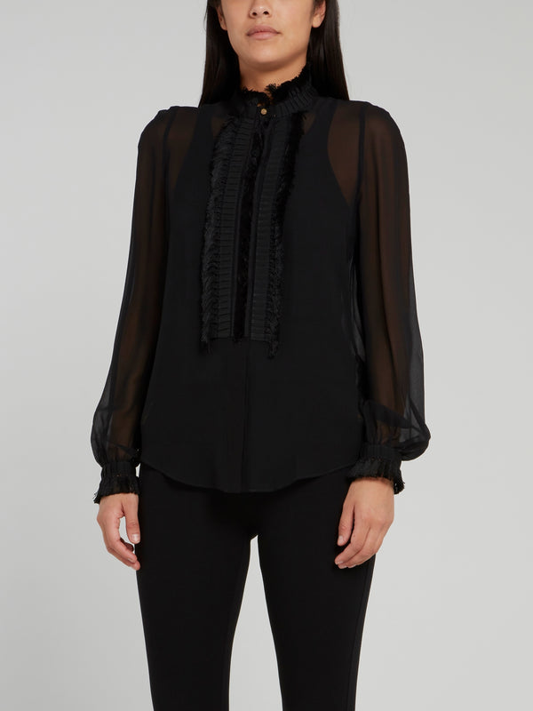 Black Bishop Sleeve Frayed Mesh Top