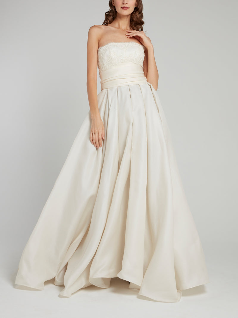 White Straight Across Ruffle Bridal Gown
