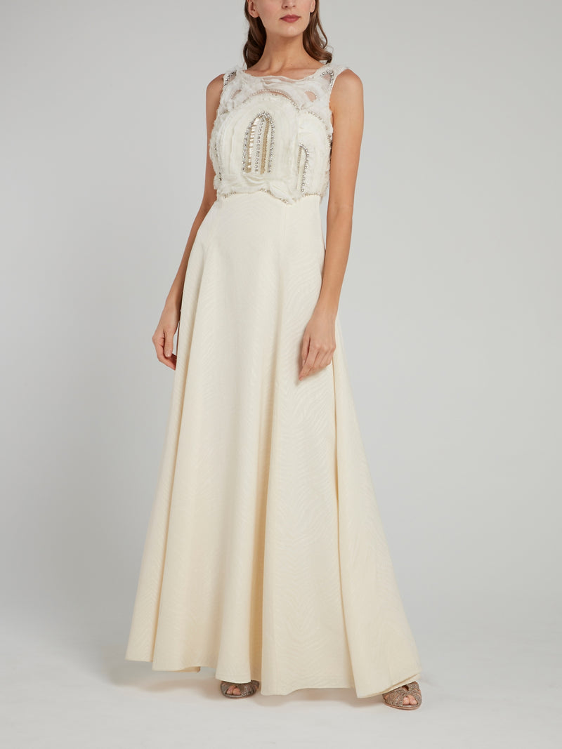 Multi-Stud V-Back Pleated Maxi Dress