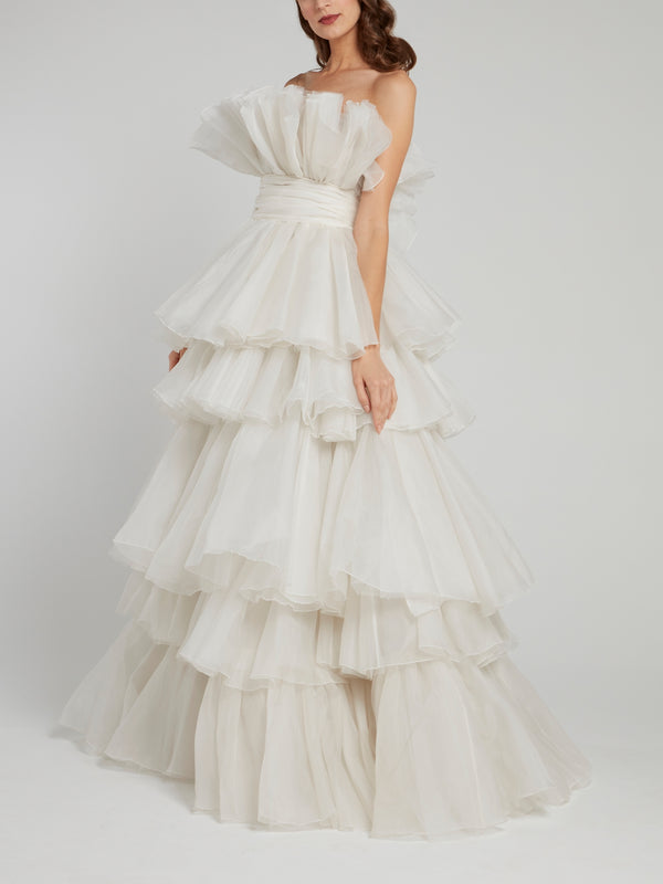 White Tiered Ruffle Empire Bridal Gown