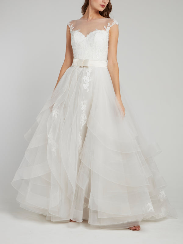 White Illusion Neckline Ruffle Bridal Gown