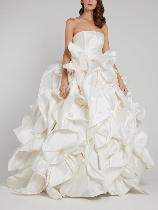 White Strapless Ruffled Ball Gown Bridal Dress