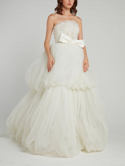 Bow Tie Tiered Tulle Bridal Dress