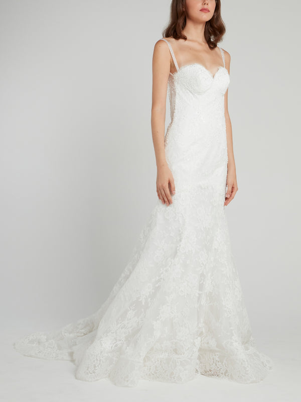 White Mermaid Lace Bridal Gown