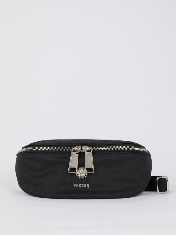 Black Logo Print Belt Bag