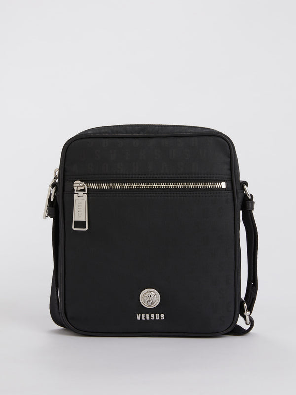 Black Logo Print Crossbody Bag
