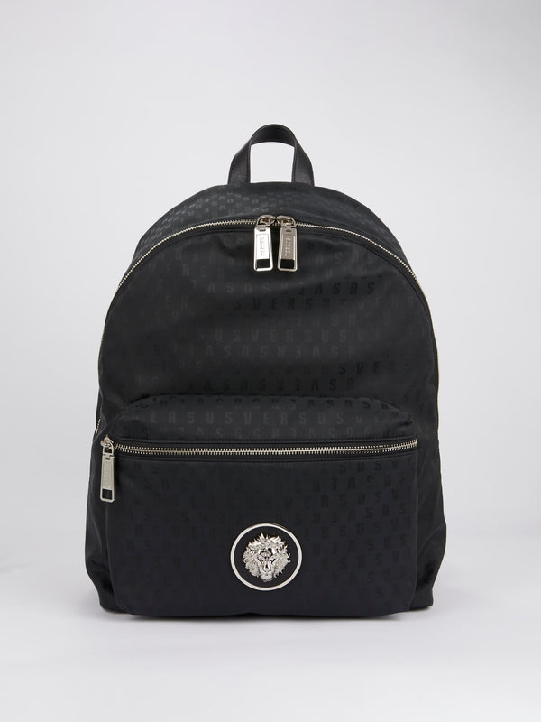 Black Logo Print Backpack
