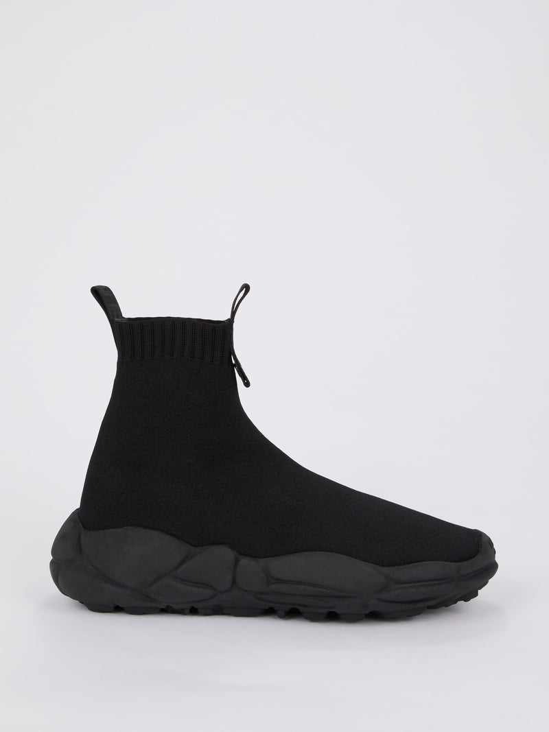 Black High Top Rubber Sole Sock Sneakers