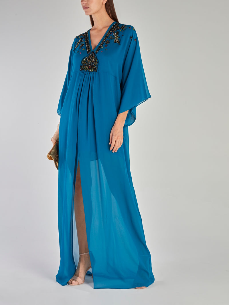 Blue Beadwork Slit Maxi Dress