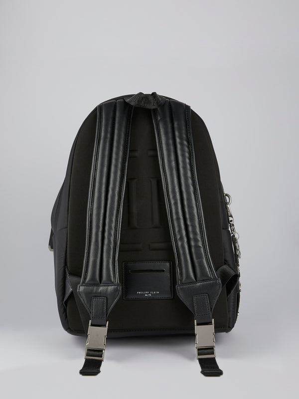 PP1978 Black Logo Leather Backpack
