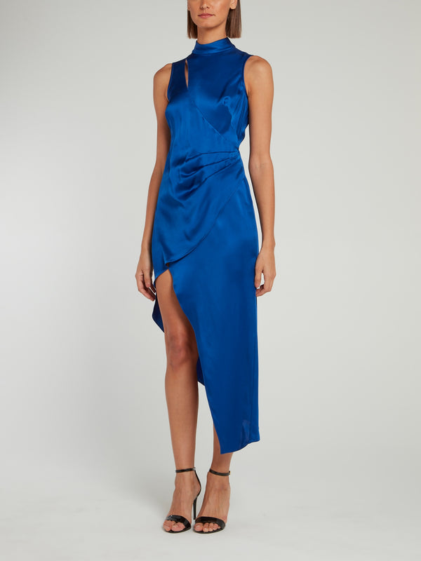Blue Ruched Sleeveless Satin Dress