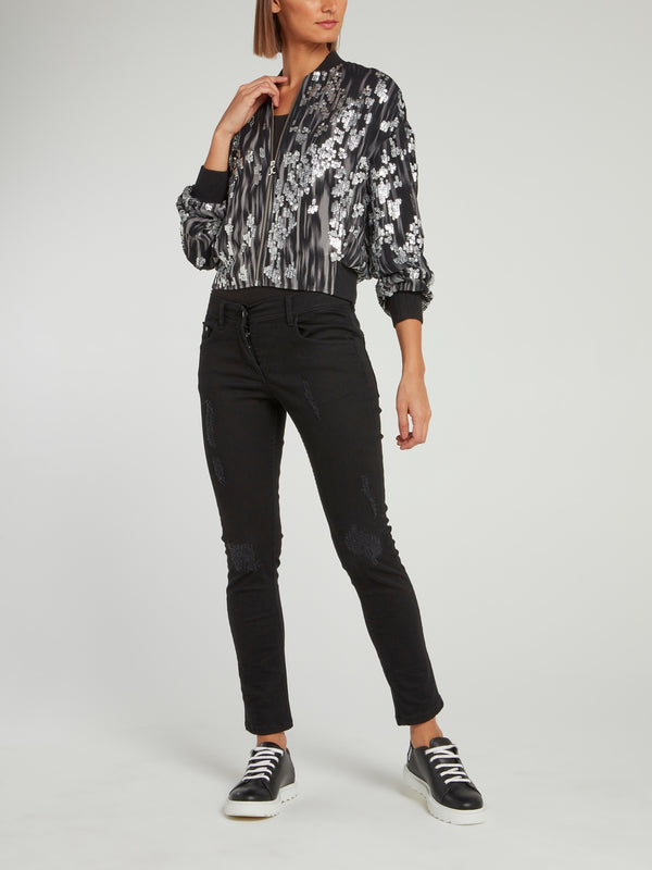 Metallic Sequin Embellished Bomber Jacket