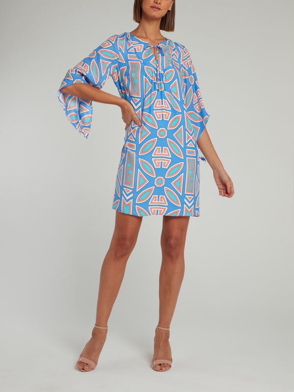 Blue Half Sleeve Silk Mini Dress
