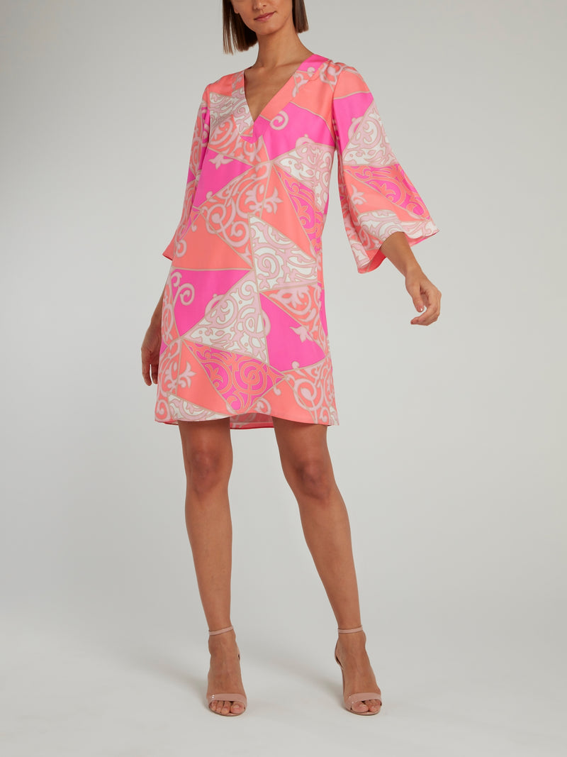 Jacquard Print Bell Sleeve Shift Dress