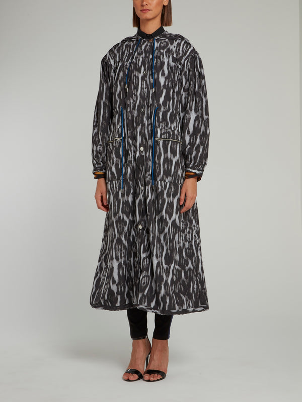 Multi-String Leopard Effect Hooded Trench Coat