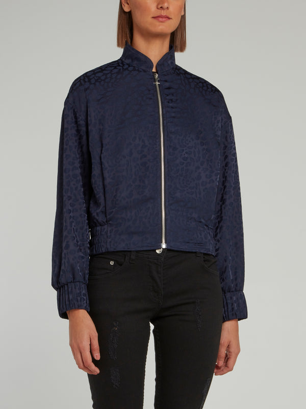 Navy Leopard Effect Zip Up Jacket