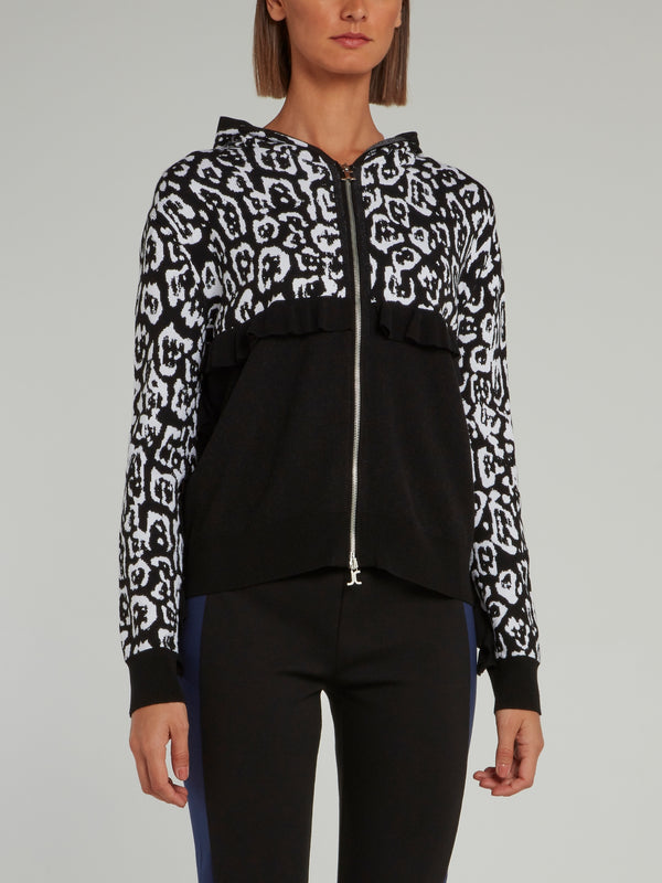 Black and White Mid Frill Leopard Panel Hooded Sweatshirt