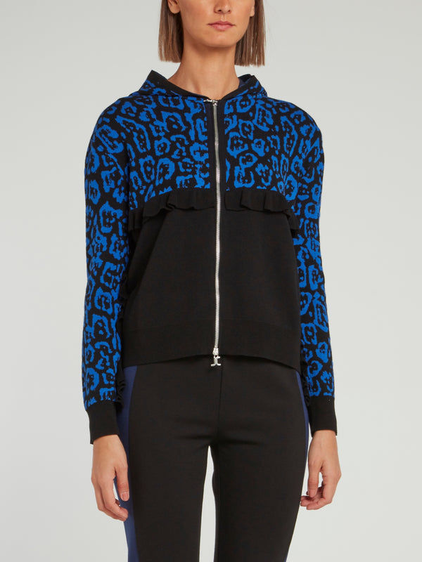 Black and Blue Mid Frill Leopard Panel Hooded Sweatshirt