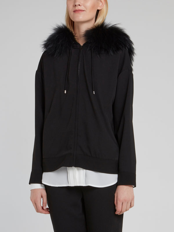 Black Raccoon Fur Hood Drawstring Jacket