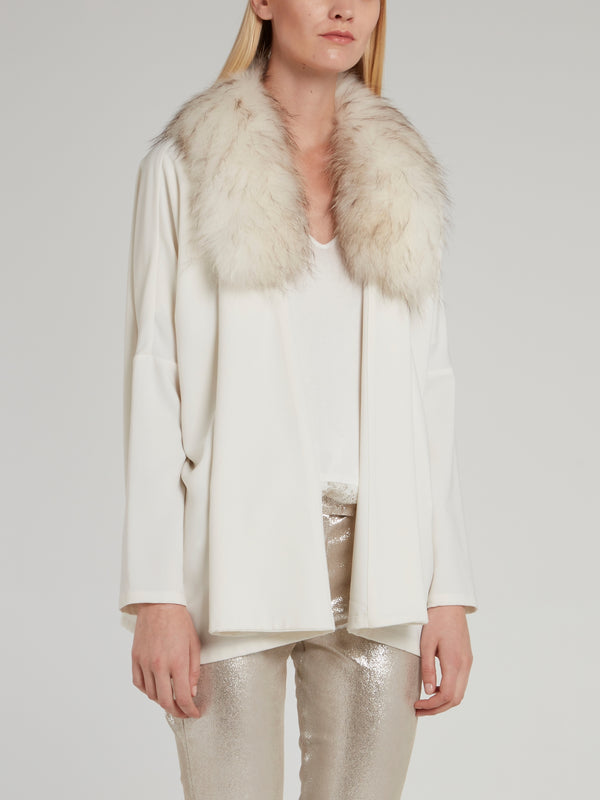 White Raccoon Fur Collared Top