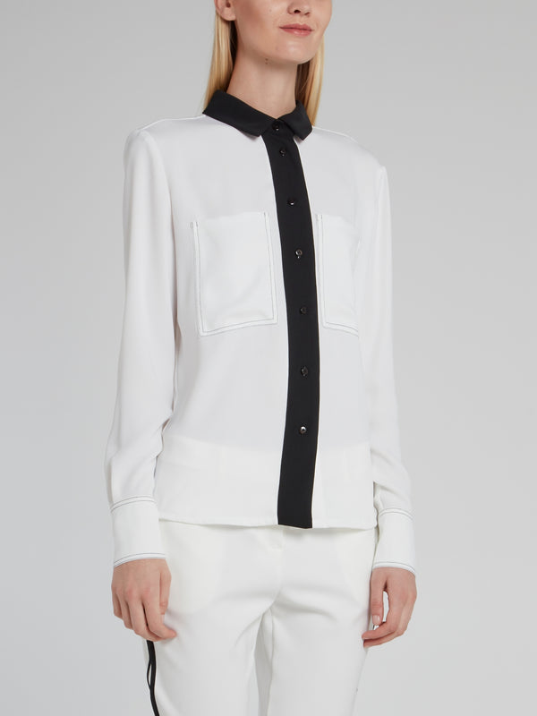 White with Black Panel Long Sleeve Top