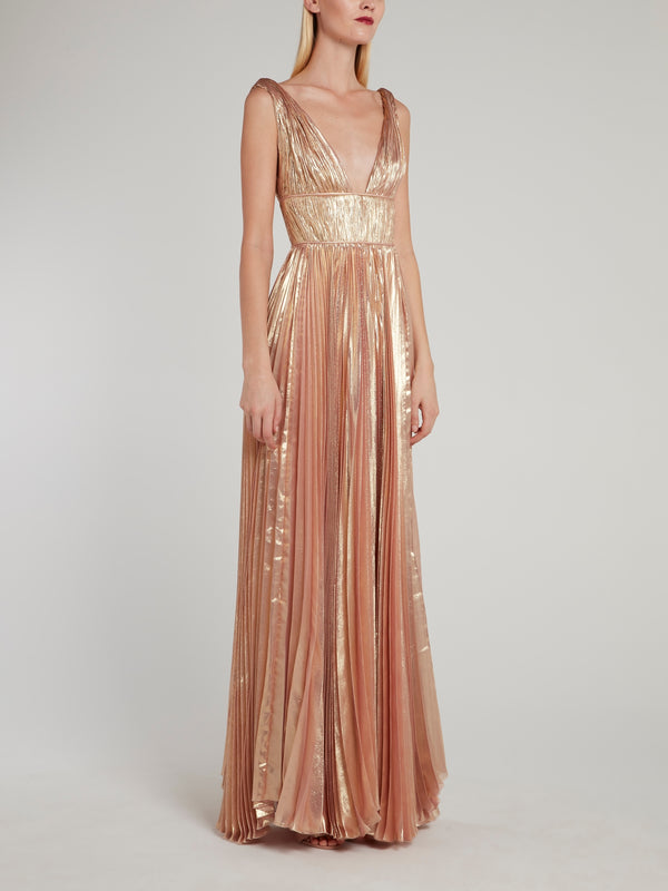 Riley Pink Décolleté Pleated Maxi Dress