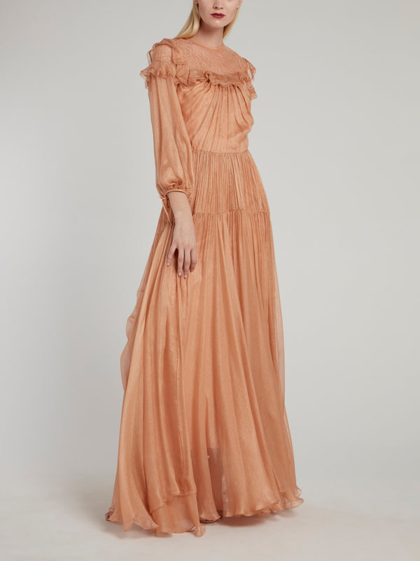 Zayley Bishop Sleeve Ruffle Maxi Dress