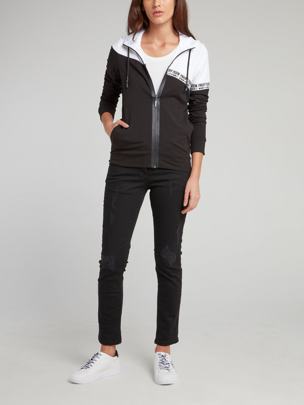 Black and White Zip Up Hooded Sweatshirt
