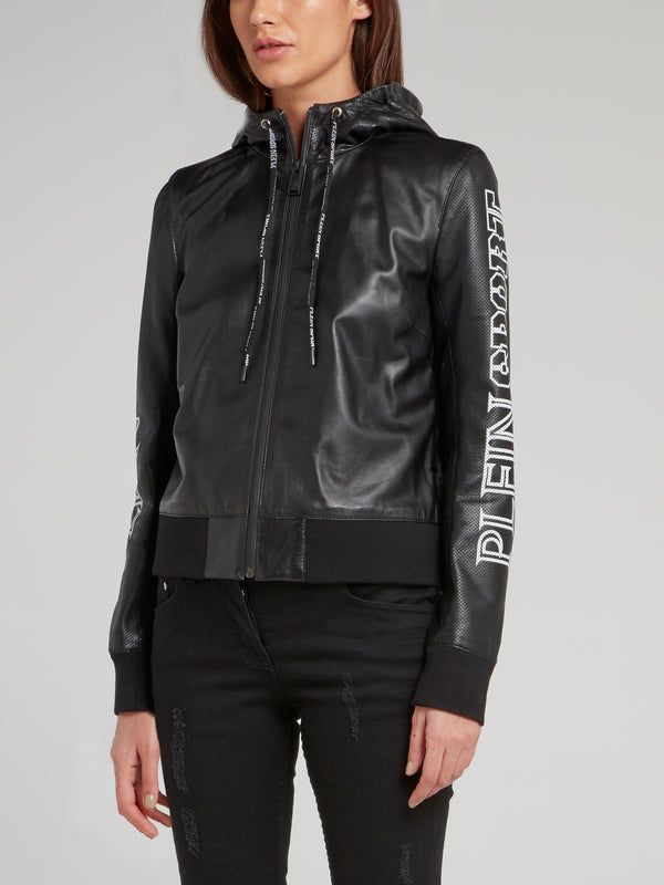 Black Drawstring Logo Leather Bomber Jacket