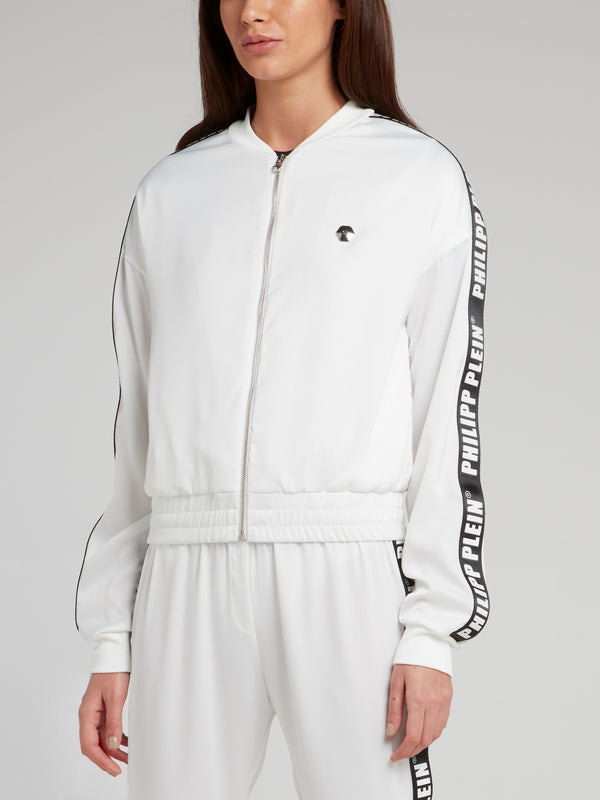 White Logo Side Stripe Zip Up Jacket