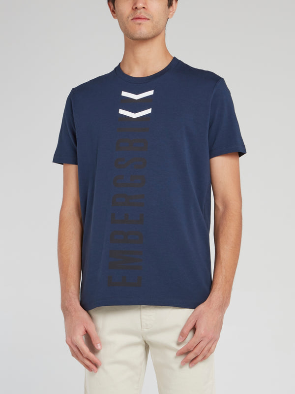 Navy Vertical Logo T-Shirt