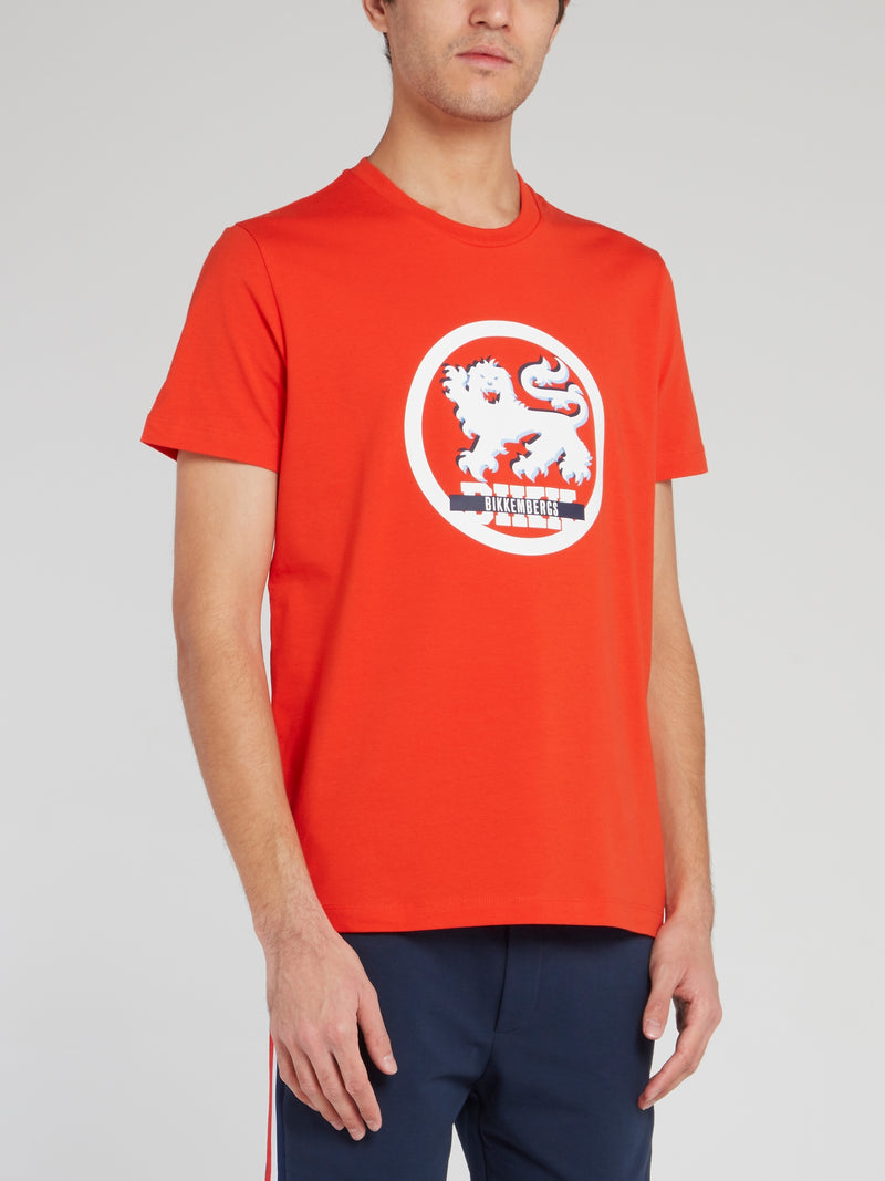 Orange Logo Round Neck T-Shirt