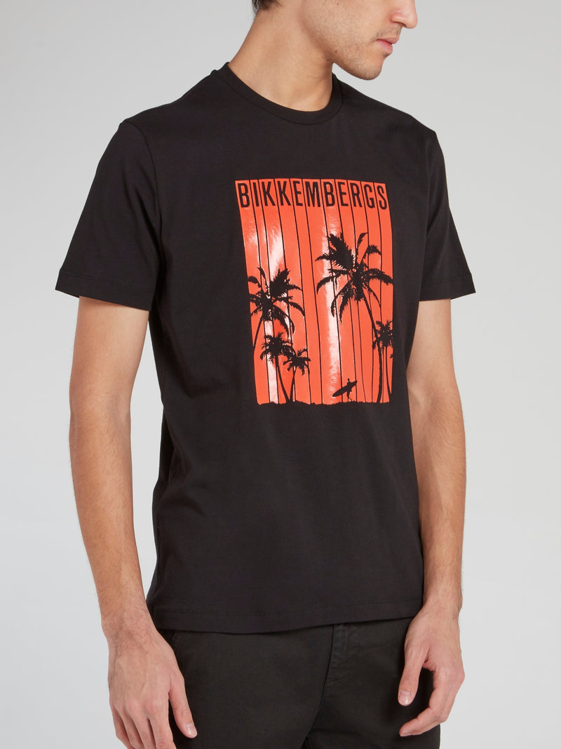 Black Palm Print Logo T-Shirt