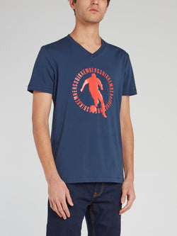 Navy Sport Print V-Neck T-Shirt