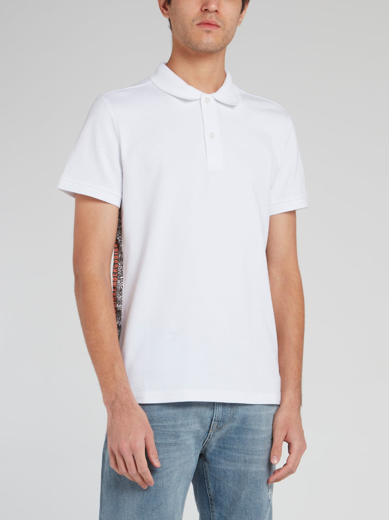 White Side Stripe Logo Polo Shirt