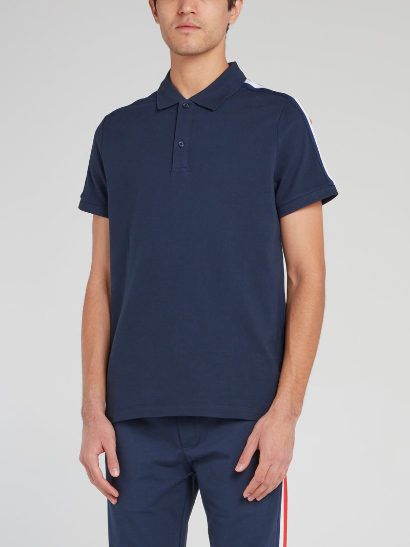 Navy Shoulder Stripe Polo Shirt