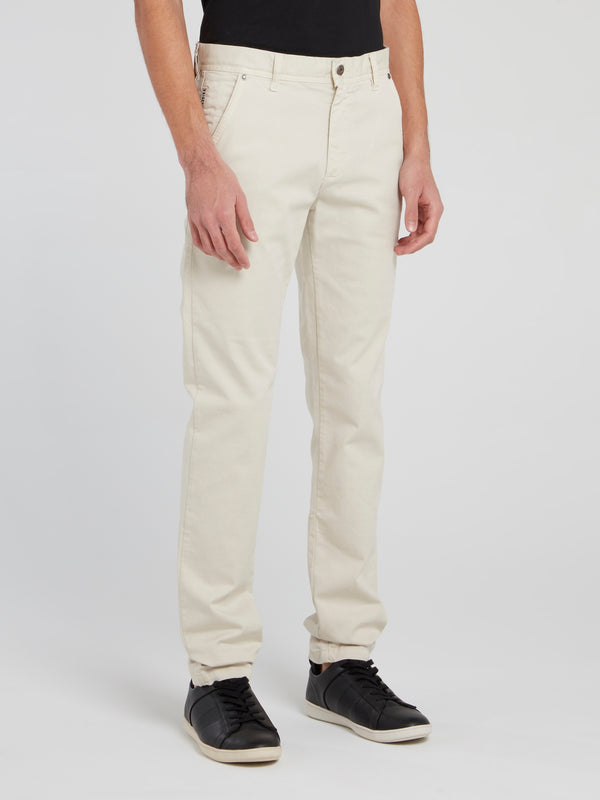 Beige Straight Cut Trousers