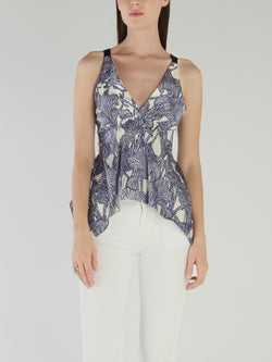 Tropical Print Flared Top