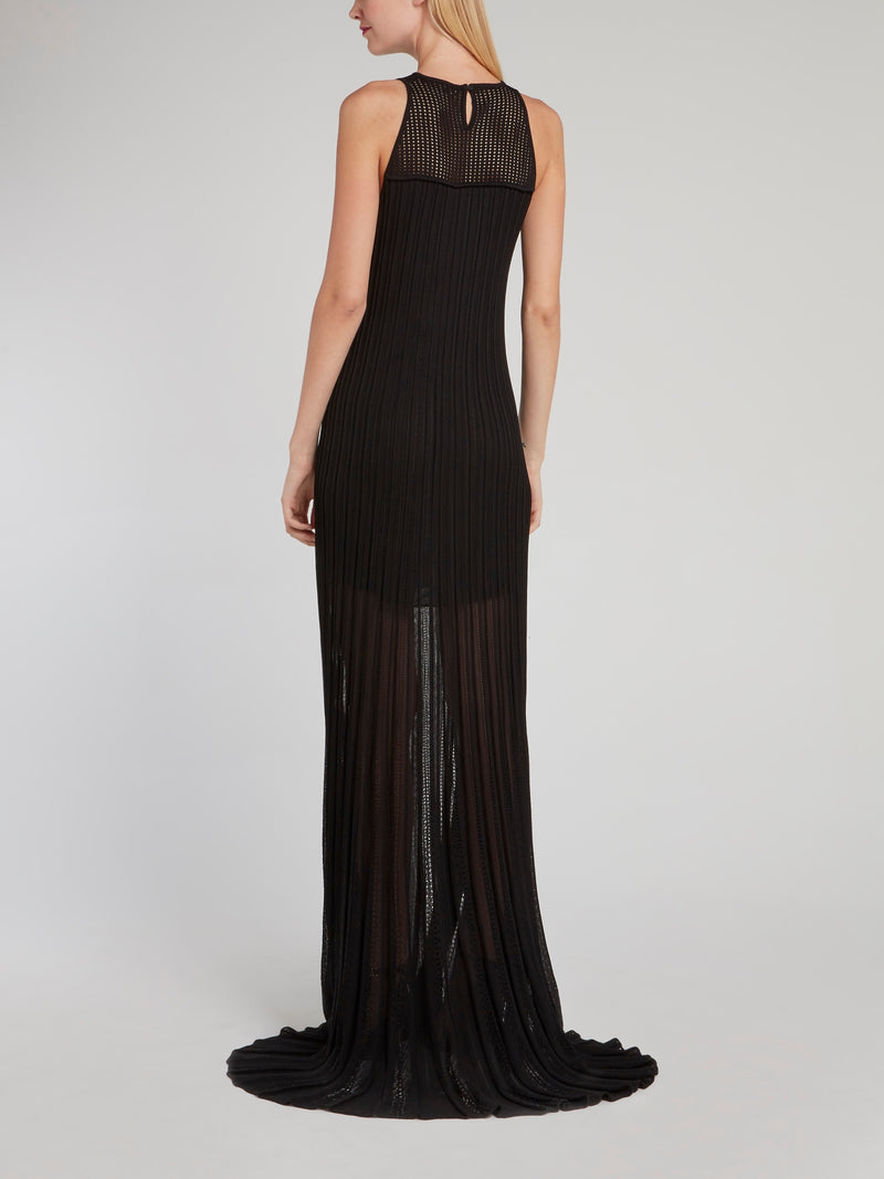 Black Pleated Sleeveless Lace Maxi Dress