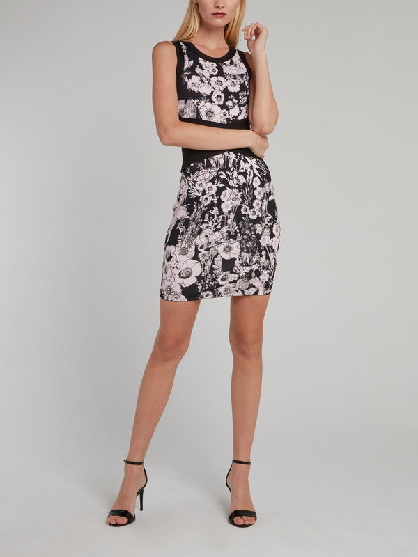 Floral Print Waistband Sheath Dress