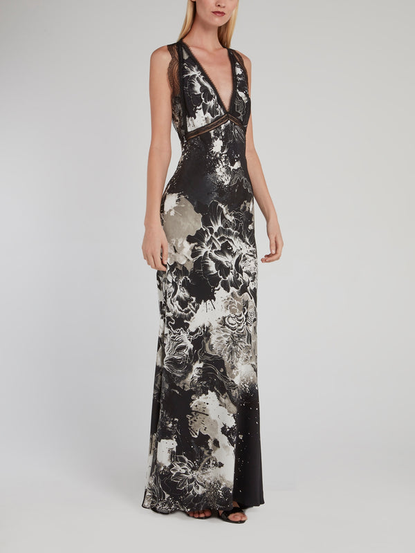 Black Lace Panel Plunge Maxi Dress