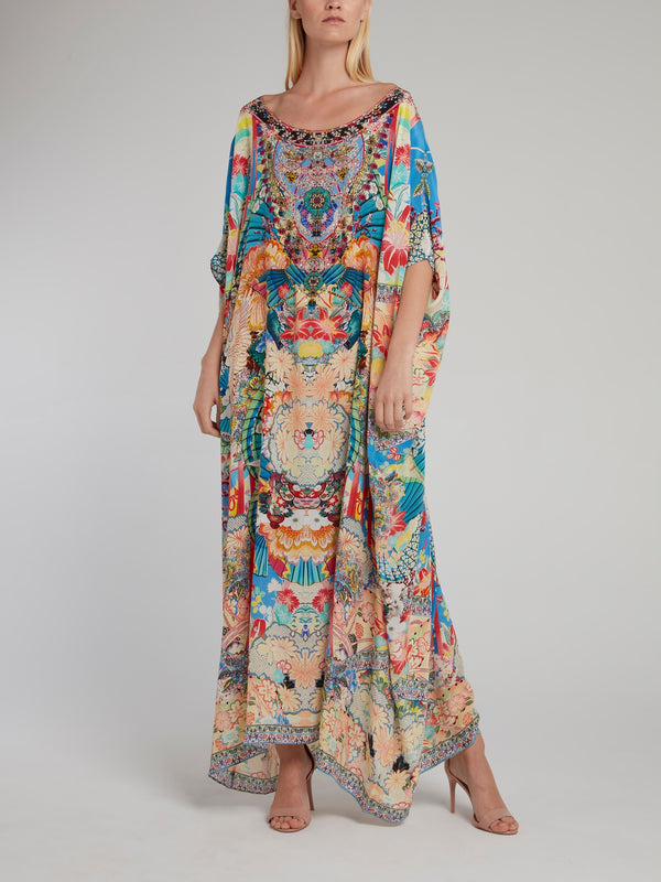 Scoop Neck Embellished Silk Kaftan