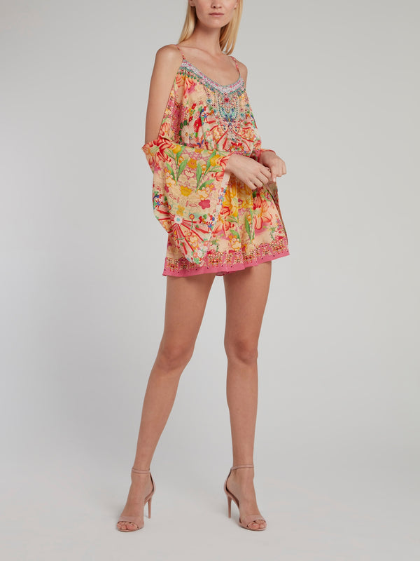 Drop Shoulder Silk Playsuit