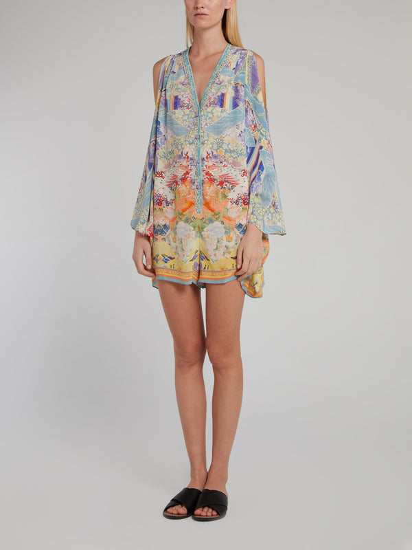 Split Sleeve Silk Playsuit