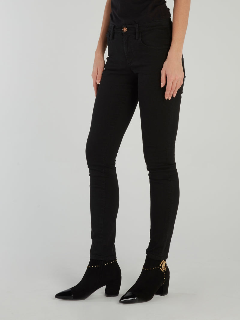 Black Cotton Skinny Jeans