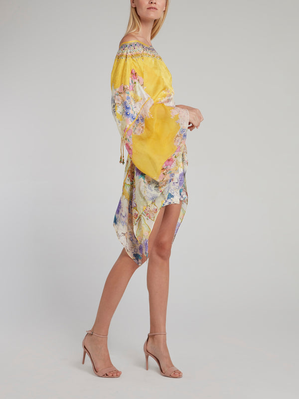 Sheer Sleeve Tie Back Short Kaftan