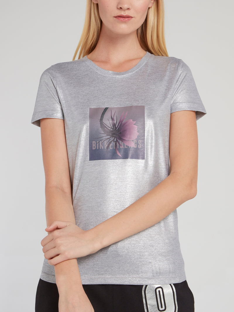 Silver Metallic Logo Fitted Shirt